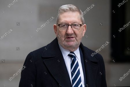 General Secretary of the Unite Union Len McCluskey arrives departs the BBC.