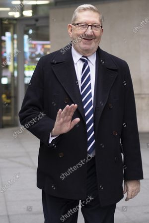 General Secretary of the Unite Union Len McCluskey departs the BBC after appearing on the Andrew Marr Show.