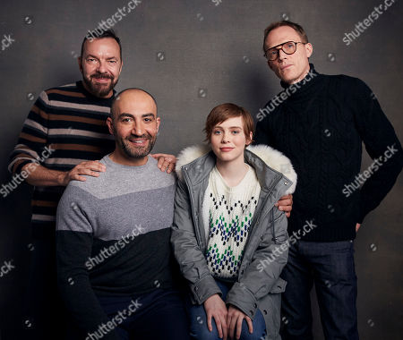 """Stock Picture of Alan Ball, Peter Macdissi, Sophia Lillis, Paul Bettany. Writer/director Alan Ball, from left, Peter Macdissi, Sophia Lillis and Paul Bettany pose for a portrait to promote the film """"Uncle Frank"""" at the Music Lodge during the Sundance Film Festival, in Park City, Utah"""