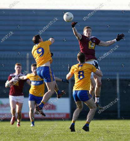 Ray Connellan of Westmeath contests a high ball with Cathal O'Connor of Clare