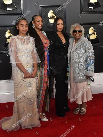 Emani Asghedom, Samantha Smith, Lauren London, Margaret Boutte. The family of the late Nipsey Hussle, Emani Asghedom, from left, Samantha Smith, Lauren London and Margaret Boutte arrive at the 62nd annual Grammy Awards at the Staples Center, in Los Angeles