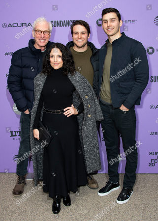 """Brad Hall, Julia Louis-Dreyfus, Henry Hall, Charlie Hall. From left, Brad Hall, actress Julia Louis-Dreyfus, Henry Hall, and Charlie Hall attend the premiere of """"Downhill"""" at the Eccles Theatre during the 2020 Sundance Film Festival, in Park City, Utah"""