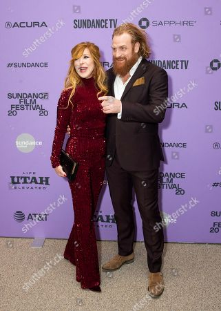 """Stock Image of Gry Molv'r Hivju, Kristofer Hivju. Gry Molvær Hivju, left, and Kristofer Hivju attend the premiere of """"Downhill"""" at the Eccles Theatre during the 2020 Sundance Film Festival, in Park City, Utah"""