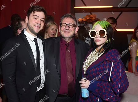 Justin Lubliner, Sir Lucian Grainge, Billie Eilish. Justin Lubliner, from left, Sir Lucian Grainge, Chairman and Chief Executive Officer of Universal Music Group, and Billie Eilish attend Universal Music Group's 2020 Grammy After Party Presented By Lenovo on in Los Angeles