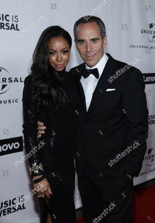 Angelina Davis, Monte Lipman. Angelina Davis, left, and Monte Lipman, CEO of Republic Records, attend Universal Music Group's 2020 Grammy After Party Presented By Lenovo on in Los Angeles