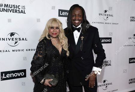 Stock Photo of Shelly Clark, Verdine White. Shelly Clark, left, and Verdine White attend Universal Music Group's 2020 Grammy After Party Presented By Lenovo on in Los Angeles