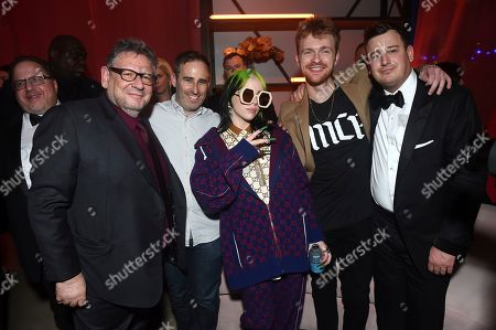 Sir Lucian Grainge, Danny Rukasin, Billie Eilish, Finneas O'Connell, Brandon Goodman. Sir Lucian Grainge, Chairman and Chief Executive Officer of Universal Music Group, from left, Danny Rukasin, Billie Eilish, Finneas O'Connell and Brandon Goodman attend Universal Music Group's 2020 Grammy After Party Presented By Lenovo on in Los Angeles