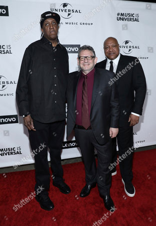 """Stock Photo of Ronald """"Slim"""" Williams, Sir Lucian Grainge. Ronald """"Slim"""" Williams, from left, Sir Lucian Grainge, Chairman and Chief Executive Officer of Universal Music Group, and guest attend Universal Music Group's 2020 Grammy After Party Presented By Lenovo on in Los Angeles"""