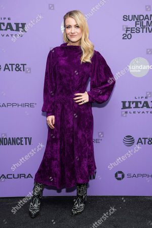 """Stock Picture of Meredith Hagner attends the premiere of """"Palm Springs"""" at the Library Center Theatre during the 2020 Sundance Film Festival, in Park City, Utah"""