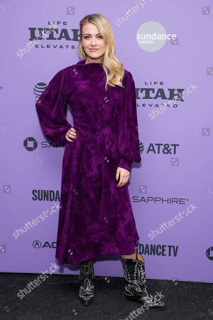 """Meredith Hagner attends the premiere of """"Palm Springs"""" at the Library Center Theatre during the 2020 Sundance Film Festival, in Park City, Utah"""