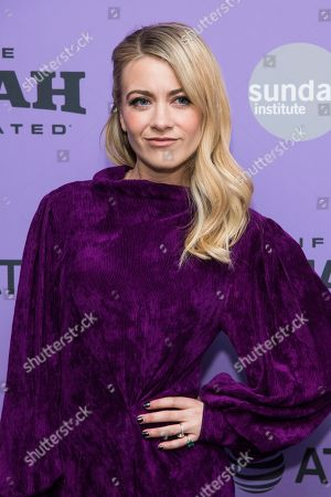 """Stock Photo of Meredith Hagner attends the premiere of """"Palm Springs"""" at the Library Center Theatre during the 2020 Sundance Film Festival, in Park City, Utah"""