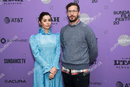 """Cristin Milioti, Andy Samberg. Cristin Milioti and Andy Samberg attend the premiere of """"Palm Springs"""" at the Library Center Theatre during the 2020 Sundance Film Festival, in Park City, Utah"""