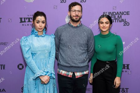 """Cristin Milioti, Andy Samberg, Camila Mendes. Cristin Milioti, left, Andy Samberg and Camila Mendes attend the premiere of """"Palm Springs"""" at the Library Center Theatre during the 2020 Sundance Film Festival, in Park City, Utah"""