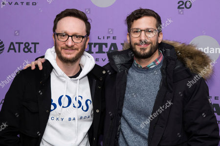 "Andy Samberg, Akiva Schaffer. Akiva Schaffer, left, and Andy Samberg attend the premiere of ""Palm Springs"" at the Library Center Theatre during the 2020 Sundance Film Festival, in Park City, Utah"
