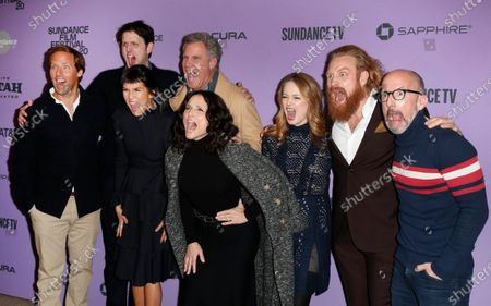 Nat Faxon, Zach Woods, Zoe Chao, Will Ferrell, Julia Louis-Dreyfus, Miranda Otto, Kristofer Hivju and Jim Rash react as they arrive for the premiere of 'Downhill' at the 2020 Sundance Film Festival in Park City, Utah, USA, 26 January 2020. The festival runs from 22 January to 02 February 2020.