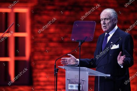 Stock Image of President of World Jewish Congress Ronald Lauder speaks during the main commemoration ceremony in front of the so-called 'Gate of Death' of the former Auschwitz II-Birkenau camp during ceremonies marking the 75th anniversary of the liberation of the former Nazi-German concentration and extermination camp KL Auschwitz-Birkenau, in Oswiecim, Poland, 27 January 2020. The biggest German Nazi death camp KL Auschwitz-Birkenau was liberated by the Soviet Red Army on 27 January 1945. The world commemorates its liberation by International Holocaust Remembrance Day annually on 27 January.