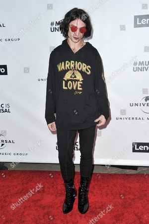 Stock Picture of Ezra Miller attends the Universal Music Group 2020 Grammy after party at Rolling Greens, in Los Angeles