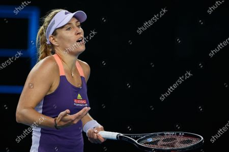 Stock Photo of Angelique Kerber of Germany reacts during her women's singles fourth round match