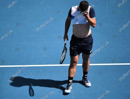 Jonny O'Mara looks dejected during his Men's Doubles Quarter Final match