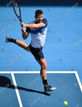 Jonny O'Mara in action during his Men's Doubles Quarter Final match