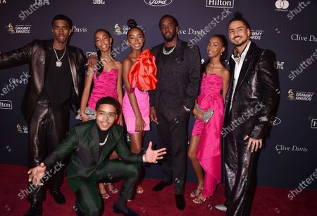 "Honoree Sean ""Diddy"" Combs (C) with Justin Dior Combs, Christian Casey Combs, Quincy Taylor Brown, D'Lila Star Combs, Jessie James Decker Combs, and Chance Combs"
