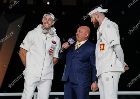 George Kittle, Tight End of the San Francisco 49ers, and Travis Kelce, Tight End of the Kansas City Chiefs, are interviewed on stage together by Jay Glazer