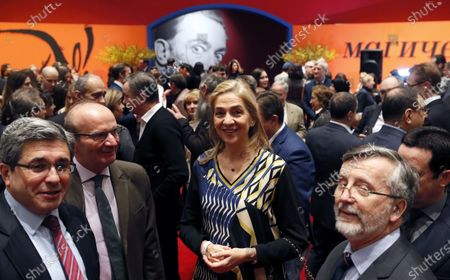 Spain's Princess Cristina (C) attends the opening of the exhibition 'Salvador Dali. Magic Art' at the Manege Central Exhibition Hall in Moscow, Russia, 27 January 2020. The exhibition, which was organized by the Link of Times Foundation and the Faberge Museum along with the Gala-Salvador Dali Foundation (Figueres) and the Museo Nacional Centro de Arte Reina Sofia (Madrid), runs from 28 January to 25 March 2020 and features more than 180 works by Spanish artist Salvador Dali (1904-1989).