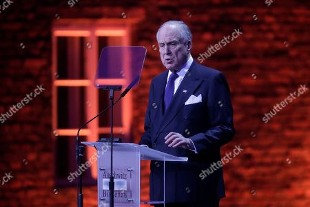 Ronald Lauder, President of the World Jewish Congress, delivers a speech during a ceremony at the Auschwitz-Birkenau Nazi death camp in Oswiecim, Poland, . Heads of State and survivors of the Auschwitz-Birkenau death camp gathered Monday for commemorations marking the 75th anniversary of the Soviet army's liberation of the camp, using the testimony of survivors to warn about the signs of rising anti-Semitism and hatred in the world today