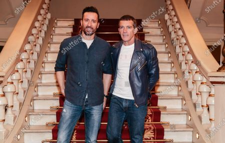 Stock Image of Spanish producer and actor Antonio Banderas and Pablo Puyol present their latest theater production 'A Chorus Line'