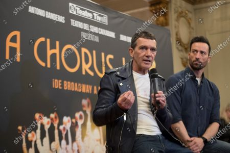 Antonio Banderas (L) and lead actor Pablo Puyol (R) hold a press conference during the presentation of the musical play 'A Chorus Line', in Barcelona, Spain, 27 January 2020. The play is directed by theater director and writer Michael Bennett and co-directed by Spanish actor Antonio Banderas, and will run from 21 February from 29 March 2020 at Tivoli Theatre.
