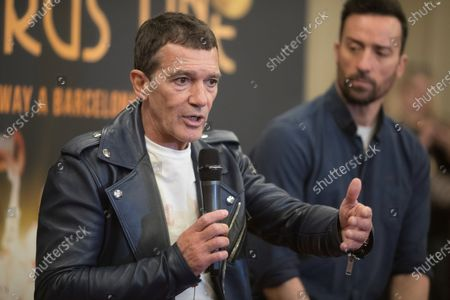Stock Picture of Antonio Banderas (L) and lead actor Pablo Puyol (R) hold a press conference during the presentation of the musical play 'A Chorus Line', in Barcelona, Spain, 27 January 2020. The play is directed by theater director and writer Michael Bennett and co-directed by Spanish actor Antonio Banderas, and will run from 21 February from 29 March 2020 at Tivoli Theatre.