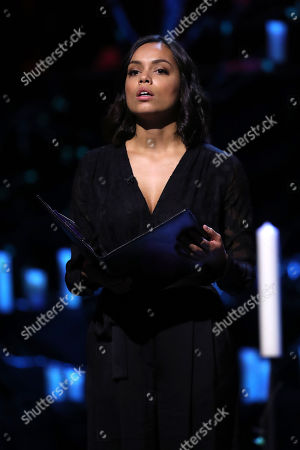 Actress Georgina Campbell speaks at the Holocaust Memorial Day Commemorative Ceremony in Westminster.