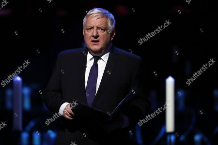 Sir Simon Russell Beale reads during the UK Holocaust Memorial Day Commemorative Ceremony in Westminster on January 27, 2020 in London, England. 2020 marks the 75th anniversary of the liberation of Auschwitz-Birkenau. Holocaust memorial day takes place annually on the 27th of January, remembering the liberation of Auschwitz-Birkenau, and honoring survivors of the Holocaust, Nazi Persecution, and subsequent genocides in Bosnia, Cambodia, Rwanda, Darfur.