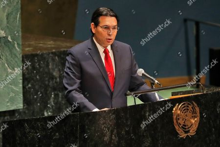 Israel's ambassador to the United Nations Danny Danon speaks during a Holocaust memorial event at U.N. headquarters