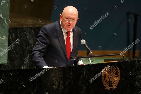 Russian ambassador to the United Nations Nebenzia Vassily speaks during a Holocaust memorial event at U.N. headquarters