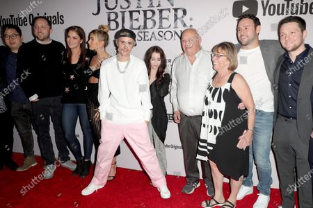 Hailey Bieber, Justin Bieber, Pattie Mallette, Bruce Dale, Diane Dale, Scooter Braun and Scott Ratner