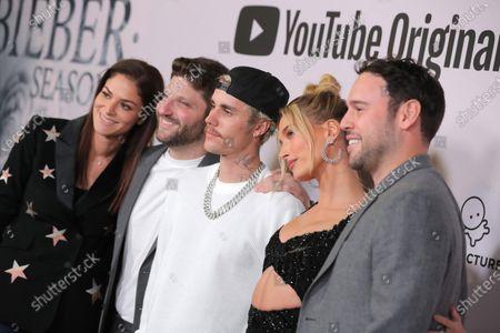 Allison Kaye, Michael D. Ratner, Justin Bieber, Hailey Bieber and Scooter Braun