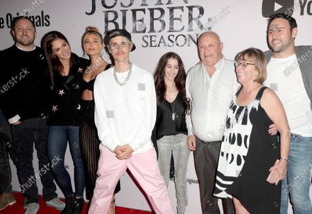 Stock Picture of Hailey Bieber, Justin Bieber, Pattie Mallette, Bruce Dale, Diane Dale, Scooter Braun and Scott Ratner