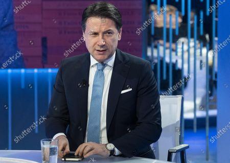 Stock Picture of Italian Prime Minister Giuseppe Conte attends the LA7 Italian program 'Otto e Mezzo' conducted by Italian journalist Lilli Gruber in Rome, Italy, 27 January 2020.