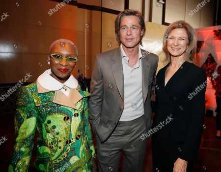 Cynthia Erivo, Brad Pitt, Dawn Hudson. Cynthia Erivo, from left, Brad Pitt and Academy of Motion Picture Arts CEO Dawn Hudson attend the 92nd Academy Awards Nominees Luncheon at the Loews Hotel, in Los Angeles
