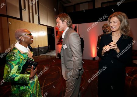 Stock Photo of Cynthia Erivo, Brad Pitt, Dawn Hudson. Cynthia Erivo, from left, Brad Pitt and Academy of Motion Picture Arts CEO Dawn Hudson attend the 92nd Academy Awards Nominees Luncheon at the Loews Hotel, in Los Angeles
