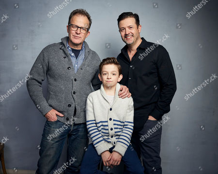 """Tom McCarthy, Winslow Fegley, Stephan Pastis. Director Tom McCarthy, from left, Winslow Fegley and writer Stephan Pastis pose for a portrait to promote the film """"Timmy Failure: Mistakes Were Made"""" at the Music Lodge during the Sundance Film Festival, in Park City, Utah"""