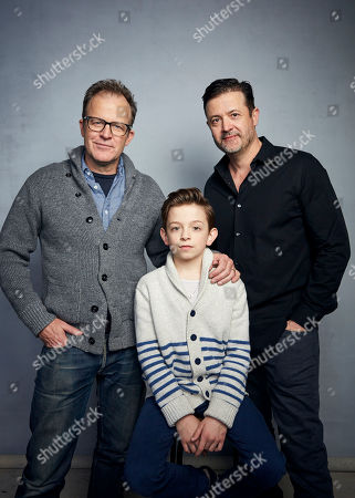 """Tom McCarthy, from left, Winslow Fegley and writer Stephan Pastis pose for a portrait to promote the film """"Timmy Failure: Mistakes Were Made"""" at the Music Lodge during the Sundance Film Festival, in Park City, Utah"""