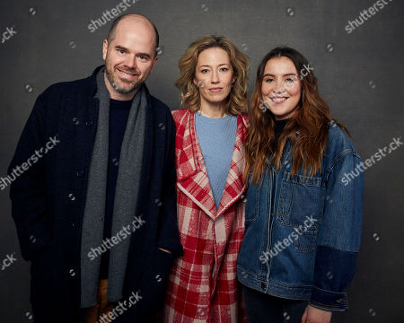 "Sean Durkin, Carrie Coon, Oona Roche. Writer/director Sean Durkin, from left, Carrie Coon, and Oona Roche pose for a portrait to promote the film ""The Nest"" at the Music Lodge during the Sundance Film Festival, in Park City, Utah"
