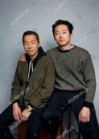 """Lee Isaac Chung, Steven Yeun. Director Lee Isaac Chung, left, and Steven Yeun pose for a portrait to promote the film """"Minari"""" at the Music Lodge during the Sundance Film Festival, in Park City, Utah"""
