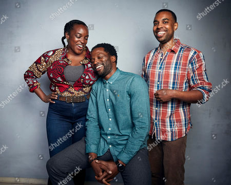 """Wunmi Mosaku, Sope Dirisu, Remi Weekes. Wunmi Mosaku, from left, Sope Dirisu, and director Remi Weekes pose for a portrait to promote the film """"His House"""" at the Music Lodge during the Sundance Film Festival, in Park City, Utah"""