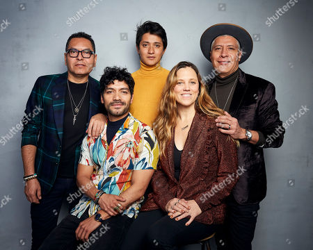 "Gerardo, Christian Vazquez, Armando Espitia, Heidi Ewing, Ivan. Gerardo, from left, Christian Vazquez, Armando Espitia, director Heidi Ewing and Ivan pose for a portrait to promote the film ""I Carry You with Me"" at the Music Lodge during the Sundance Film Festival, in Park City, Utah"