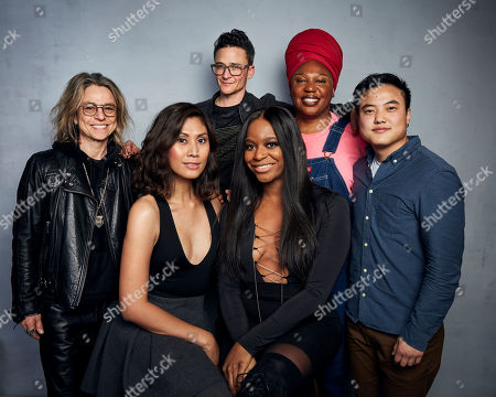 "Amy Scholder, Sam Feder, Jazzmun Crayton, Leo Sheng, Rain Valdez, Alexandra Grey. Producer Amy Scholder, from top left, director Sam Feder, Jazzmun Crayton, Leo Sheng, Rain Valdez, bottom left, and Alexandra Grey pose for a portrait to promote the film ""Disclosure: Trans Lives on Screen"" at the Music Lodge during the Sundance Film Festival, in Park City, Utah"