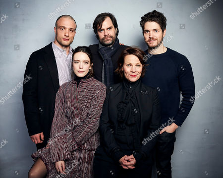 """Cosmo Jarvis, Braden King, Philip Ettinger, Stacy Martin, Lili Taylor. Cosmo Jarvis, from back left, director Braden King, Philip Ettinger, Stacy Martin, bottom left, and Lili Taylor pose for a portrait to promote the film """"The Evening Hour"""" at the Music Lodge during the Sundance Film Festival, in Park City, Utah"""