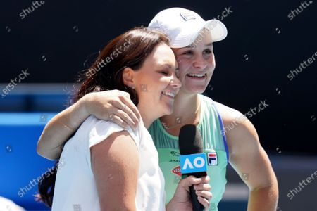 Ashleigh Barty (R) of Australia is congratulated by retired Australian tennis player Casey Dellacqua (L) after winning against Petra Kvitova of the Czech Republic during a fifth round match on day nine of the Australian Open tennis tournament at Melbourne Park in Melbourne, Australia, 28 January 2020.